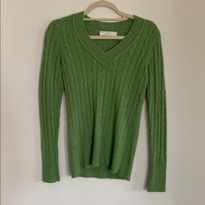 Ann Taylor Loft green cable knit sweater